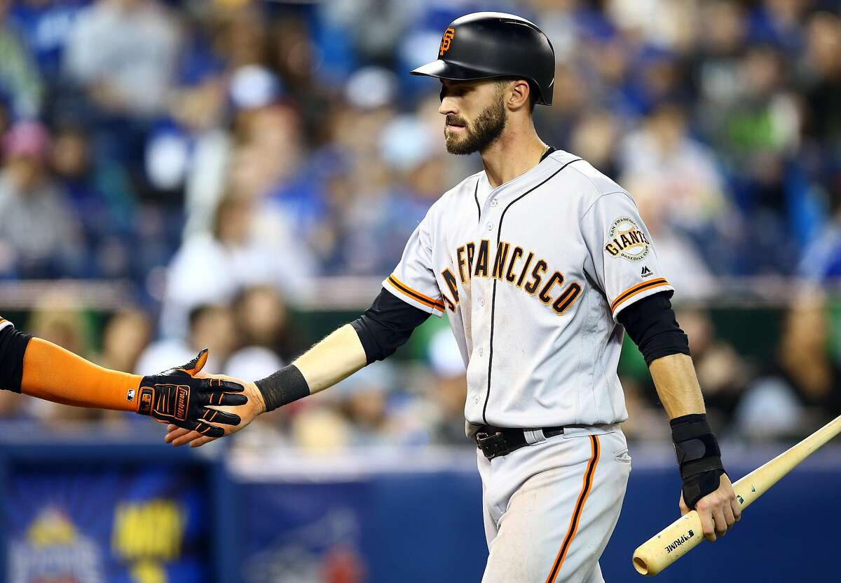 TORONTO, ON - APRIL 24: Steven Duggar #6 of the San Francisco Giants celebrates after scoring a run in the fourth inning during a MLB game against the Toronto Blue Jays at Rogers Centre on April 24, 2019 in Toronto, Canada. (Photo by Vaughn Ridley/Getty Images)