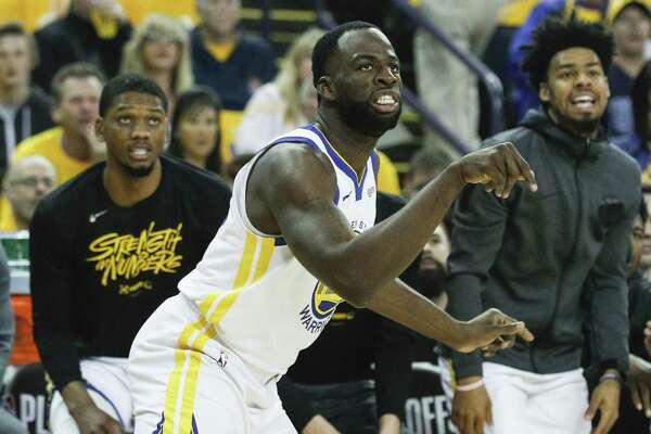 1a0de3390 1of5Golden State Warriors Draymond Green watches his shot go in in the  first quarter during game 1 of the Western Conference Semifinals between  the Golden ...