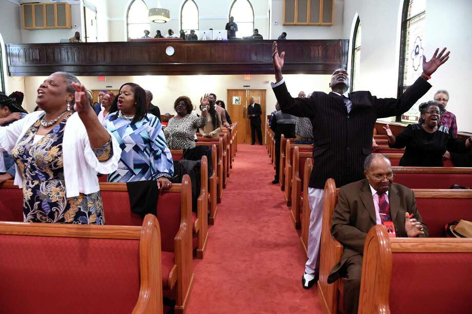 Parishioners pray during the Hope for Healing Community Prayer Service at Varick Memorial AME Zion Church in New Haven on April 28, 2019. Photo: Arnold Gold / Hearst Connecticut Media / New Haven Register