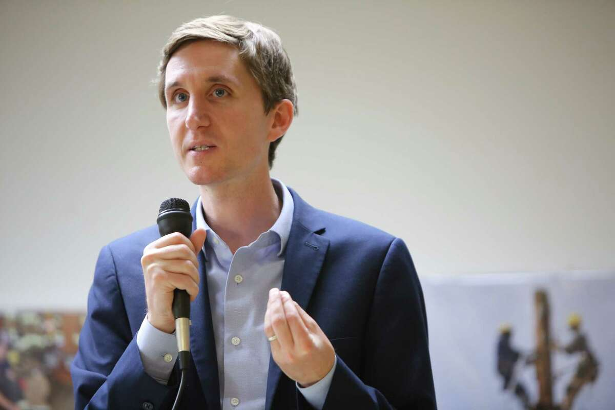 District 7 candidate Michael George speaks during a candidate forum hosted by the King County Young Democrats, Sunday, April 28, 2019 at the Washington State Labor Council.