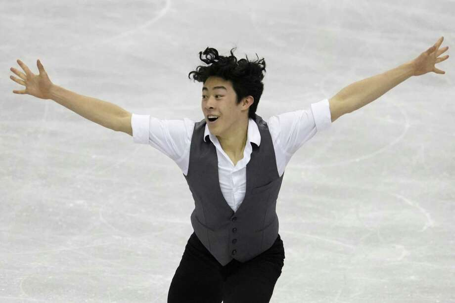 Nathan Chen of the U.S. performs his men's short program routine during the ISU World Team Trophy Figure Skating competition in Fukuoka, Japan earlier this month. Photo: Toru Hanai / Associated Press / Copyright 2019 The Associated Press. All rights reserved