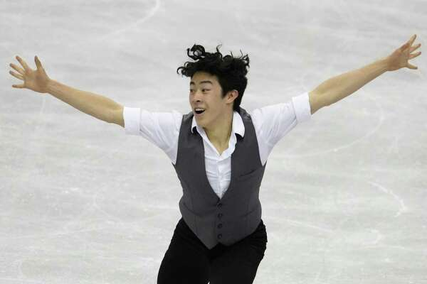 Nathan Chen of the U.S. performs his men's short program routine during the ISU World Team Trophy Figure Skating competition in Fukuoka, Japan earlier this month.