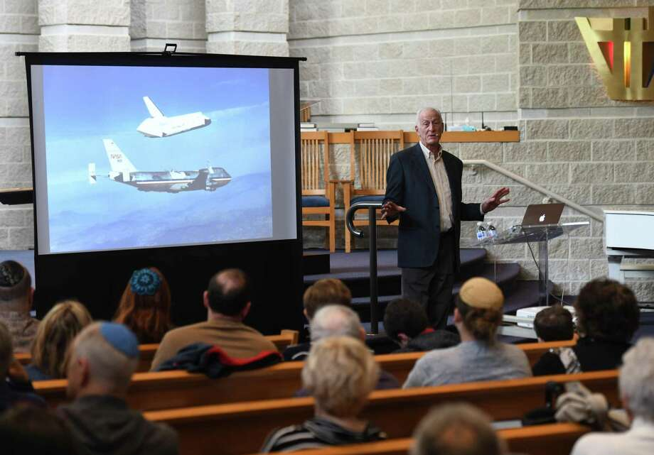 "Astronaut Dr. Jeffrey Hoffman presents ""An Unusual Jewish Journey Out of This World"" at Temple Sholom in Greenwich, Conn. Sunday, April 28, 2019. Dr. Hoffman has completed five NASA missions into space and was the first Jewish American man in space. Photo: Tyler Sizemore / Hearst Connecticut Media / Greenwich Time"