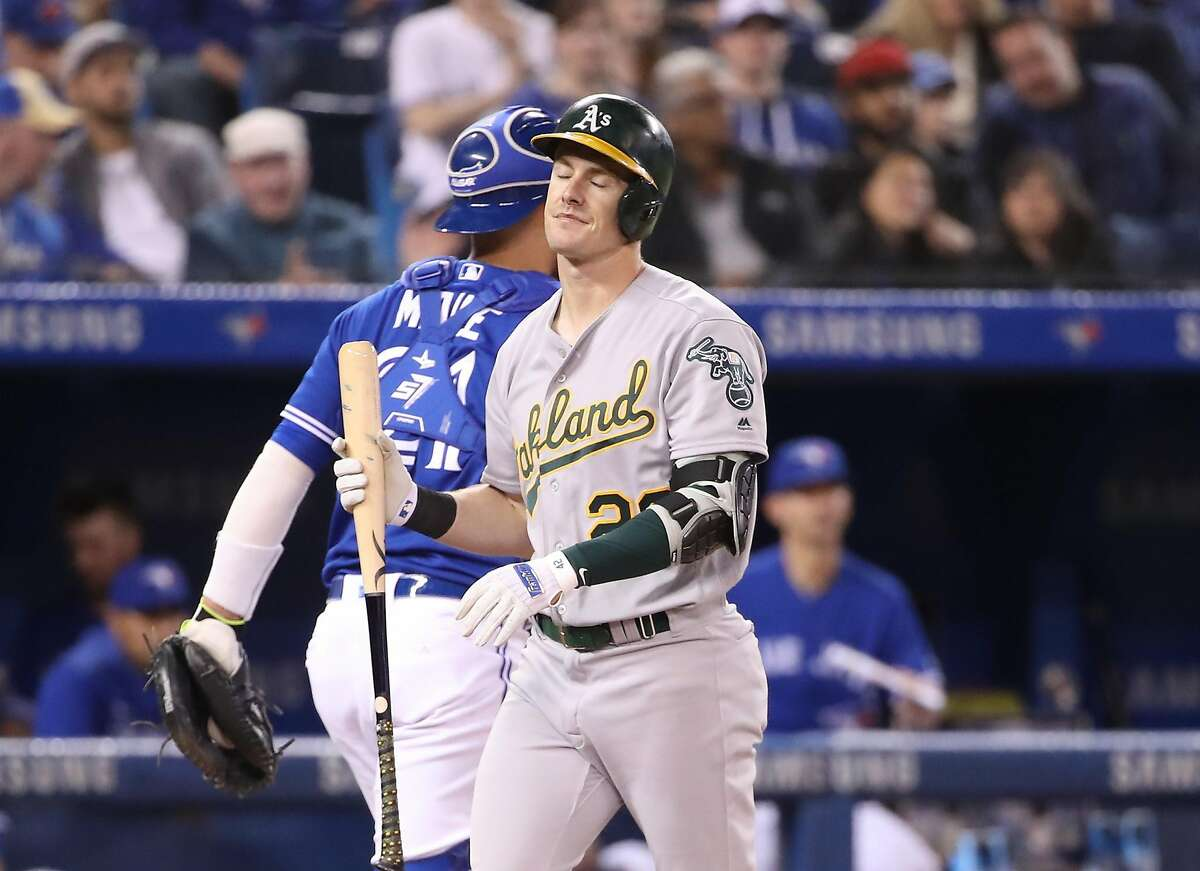TORONTO, ON - APRIL 28: Mark Canha #20 of the Oakland Athletics reacts after striking out in the sixth inning during MLB game action against the Toronto Blue Jays at Rogers Centre on April 28, 2019 in Toronto, Canada. (Photo by Tom Szczerbowski/Getty Images)