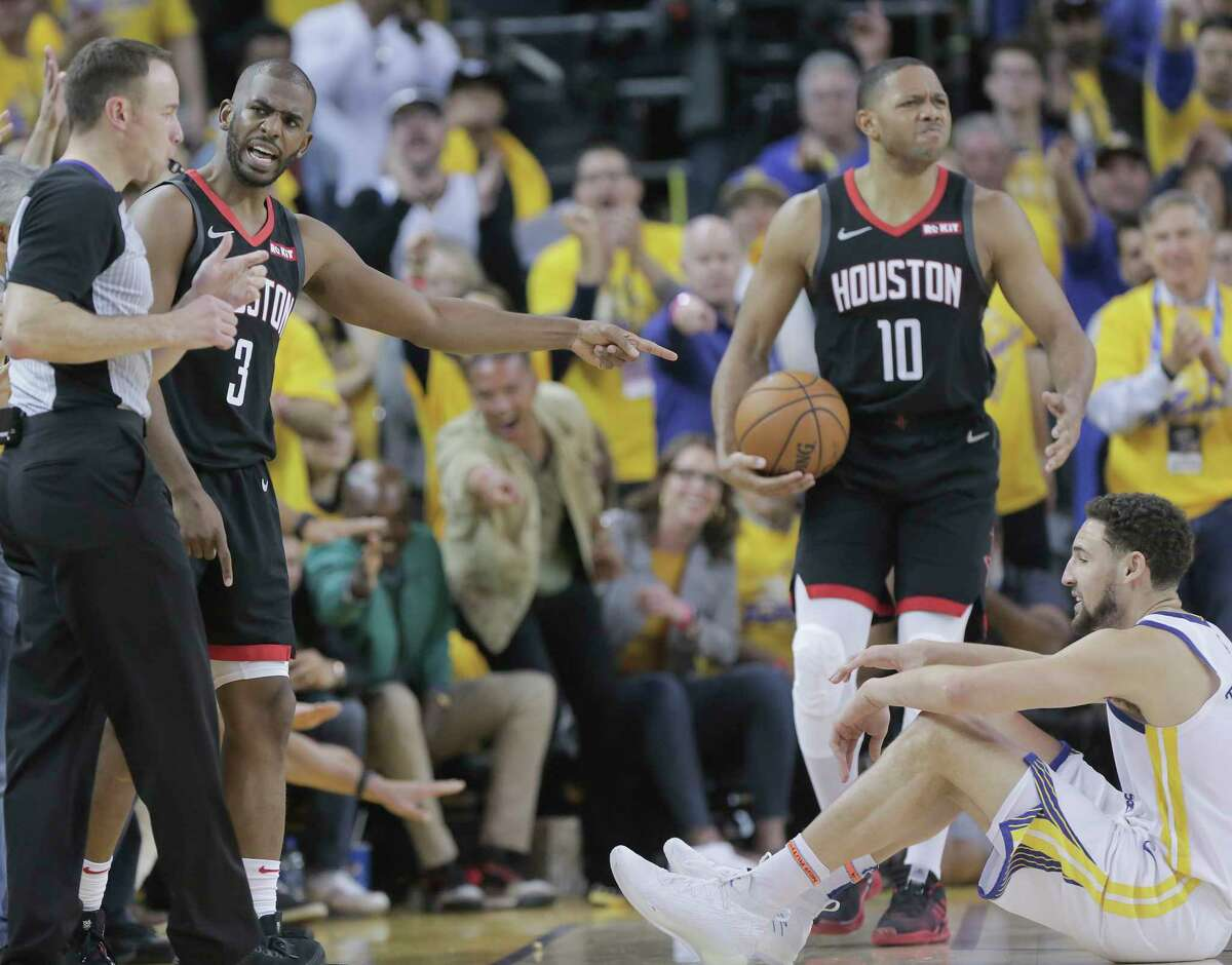 Houston Rockets guard Chris Paul (3) complains about a call in the final seconds of the second half of Game 1 of the NBA playoffs against Golden State Warriors at the Oracle Arena on Sunday, April 28, 2019 in Oakland. Golden State Warriors won the game 104-100.
