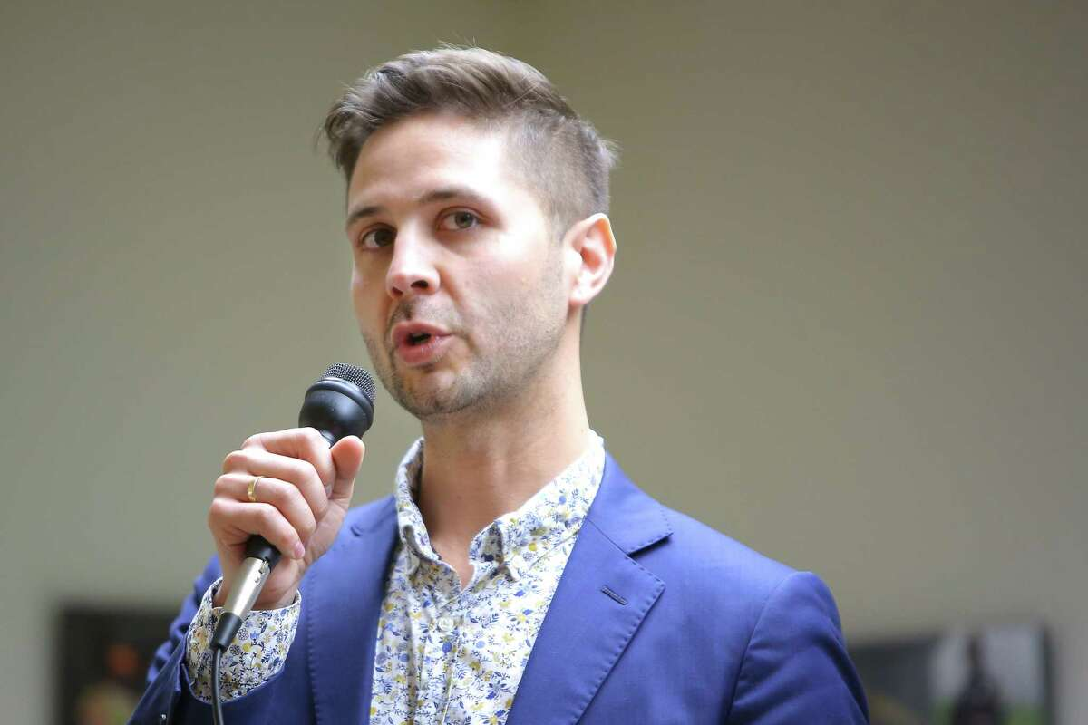 District 3 candidate Zachary DeWolf speaks during a candidate forum hosted by the King County Young Democrats, Sunday, April 28, 2019 at the Washington State Labor Council.