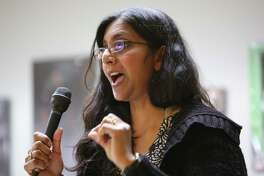 District 3 incumbent Kshama Sawant speaks during a candidate forum hosted by the King County Young Democrats, Sunday, April 28, 2019 at the Washington State Labor Council.