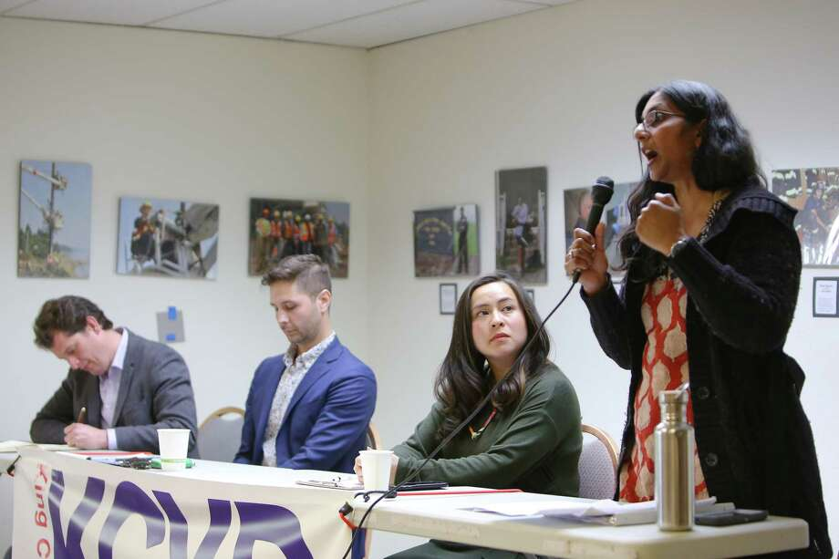 District 3 candidates, from left, Logan Bowers, Zachary DeWolf, Ami Nguyen and incumbent Kshama Sawant particpate in a candidate forum hosted by the King County Young Democrats, Sunday, April 28, 2019 at the Washington State Labor Council. The YD's have endorsed DeWold and Nguyen, challengers to Sawant. Photo: Genna Martin, SEATTLEPI / GENNA MARTIN