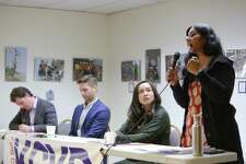District 3 candidates, from left, Logan Bowers, Zachary DeWolf, Ami Nguyen and incumbent Kshama Sawant particpate in a candidate forum hosted by the King County Young Democrats, Sunday, April 28, 2019 at the Washington State Labor Council.