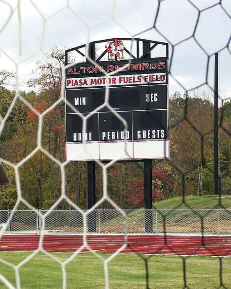 Piasa Motor Fuels Field at Alton High School was the site of an April 4 game that school officials had suspended at halftime with Alton leading 2-0 over Edwardsville. The IHSA ruled Friday that by reaching halftime, the game is a complete game by rule and Alton is the winner, 2-0. Photo: Telegraph File Photo