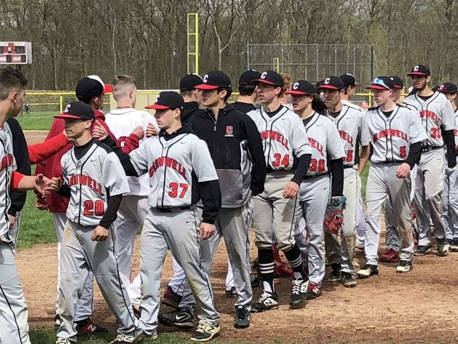 The Portland-Cromwell baseball rivalry rolled on with a 3-2 Highlanders win on Saturday. Photo: Paul Augeri / For Hearst Connecticut Media