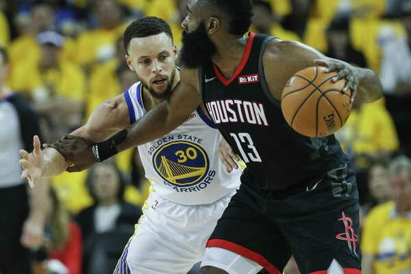 d5137432a 3of10Golden State Warriors Stephen Curry guards Houston Rockets James  Harden in the second quarter during game 1 of the Western Conference  Semifinals ...