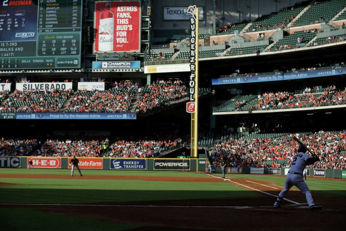 Houston Astros third baseman Alex Bregman (2) bats during the first inning of a major league baseball game at Minute Maid Park Sunday, April 28, 2019, in Houston.