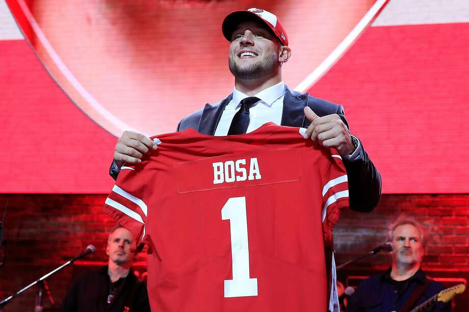 Nick Bosa of Ohio State reacts after being chosen No. 2 overall by the San Francisco 49ers during the first round of the NFL Draft on April 25, 2019, in Nashville, Tenn.  Photo: Andy Lyons / Getty Images