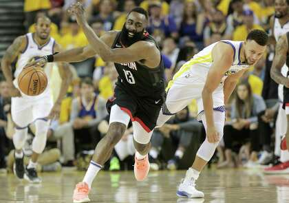 fcbe49b79bff Houston Rockets guard James Harden (13) bumps into Golden State Warriors  guard Stephen Curry (30) after chasing down a loose ball in the first half  of Game ...