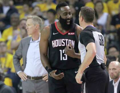 6a8f8cf9b2eb Houston Rockets guard James Harden (13) complains about a call with referee  Josh Tiven in the first half of Game 1 of the NBA playoffs at the Oracle  Arena ...