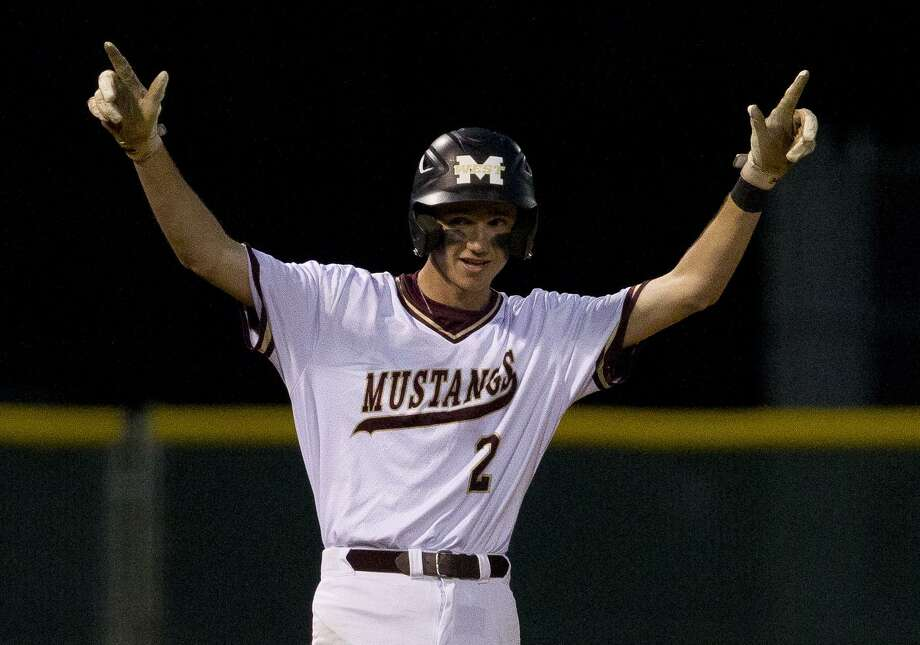 Dylan Van Winklen #2 of Magnolia West reacts after hitting a two-run triple during the fourth inning of a District 19-5A high school baseball game at Magnolia West High School, Tuesday, April 16, 2019, in Magnolia. Photo: Jason Fochtman, Houston Chronicle / Staff Photographer / © 2019 Houston Chronicle