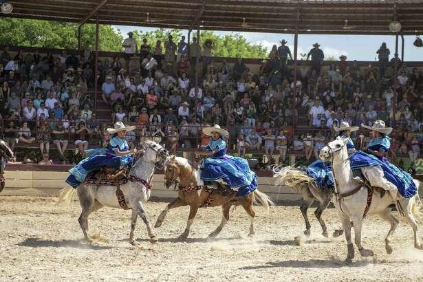 Members of Escaramuza las Coronelas perform during A Day in Old Mexico & Charreada at Rancho del Charro on April 28, 2019.