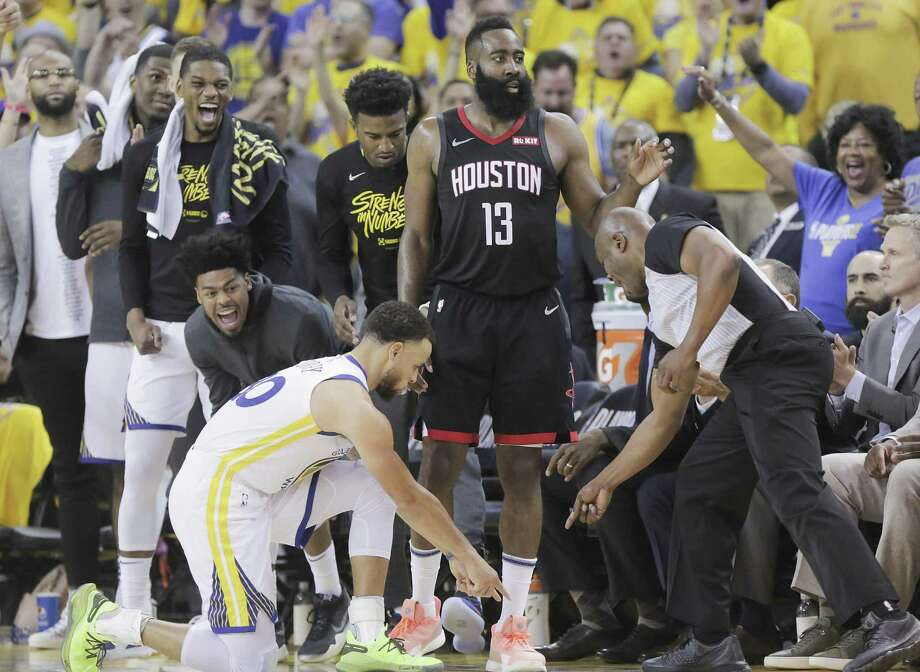 PHOTOS: A look back at the Rockets' Game 1 loss in Oakland Golden State Warriors guard Stephen Curry (30) points to where Houston Rockets guard James Harden (13) stepped out of bounds in the second half of Game 1 of the NBA playoffs at the Oracle Arena on Sunday, April 28, 2019 in Oakland. The NBA's two-minute report Monday rules that Curry should have been called for a foul on the play. Photo: Elizabeth Conley, Houston Chronicle / Staff Photographer / © 2018 Houston Chronicle