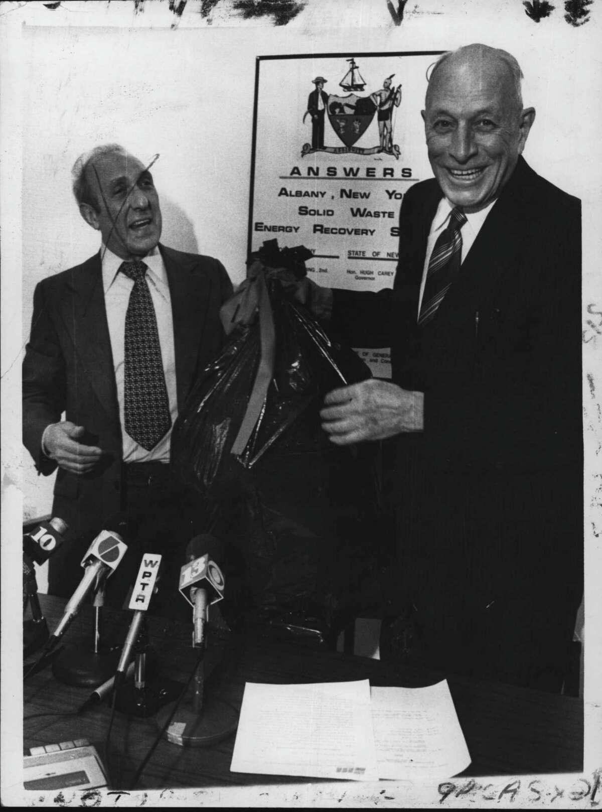 Frank Duci with Albany Mayor Erastus Corning on September 11, 1980 (Paul D. Kniskern, Sr./Times Union Archive)