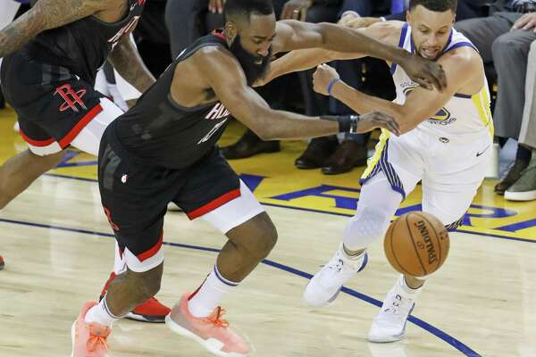 90d81a011 1of17Houston Rockets James Harden and Golden State Warriors Stephen Curry  chase a loose ball in the second quarter during game 1 of the Western  Conference ...