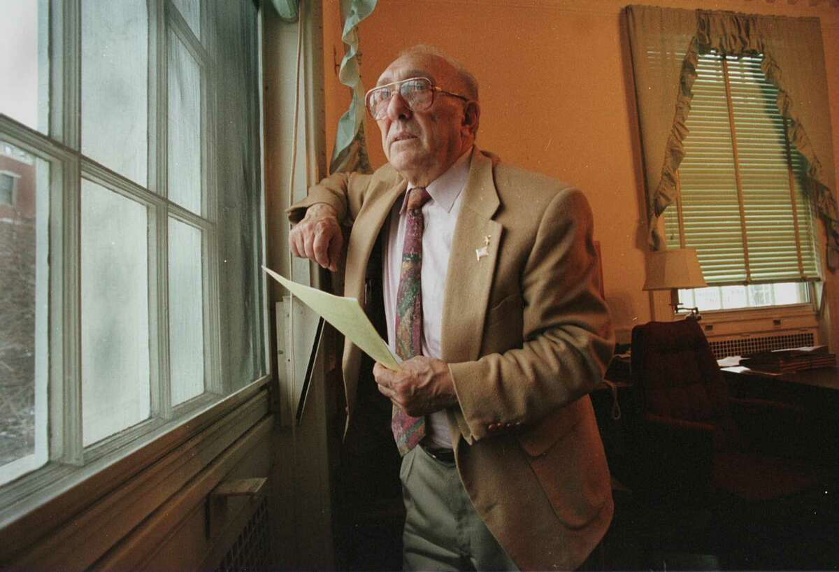 Schenectady Mayor Frank Duci stares outside his office window during his last day in office, Friday, Dec. 29, 1995. (Times Union photo by STEVE JACOBS)