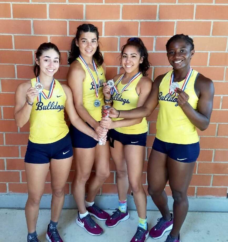 The Alexander girls' 4x100-meter relay team of Avery Puig, Aly Benavides, Krysta Villarreal and Cynthia Emeremnu broke its city record to place second at regionals Saturday and advance to the state meet. Emeremnu also broke her record in the 100-meter dash to place second and advance. Photo: Courtesy Photo