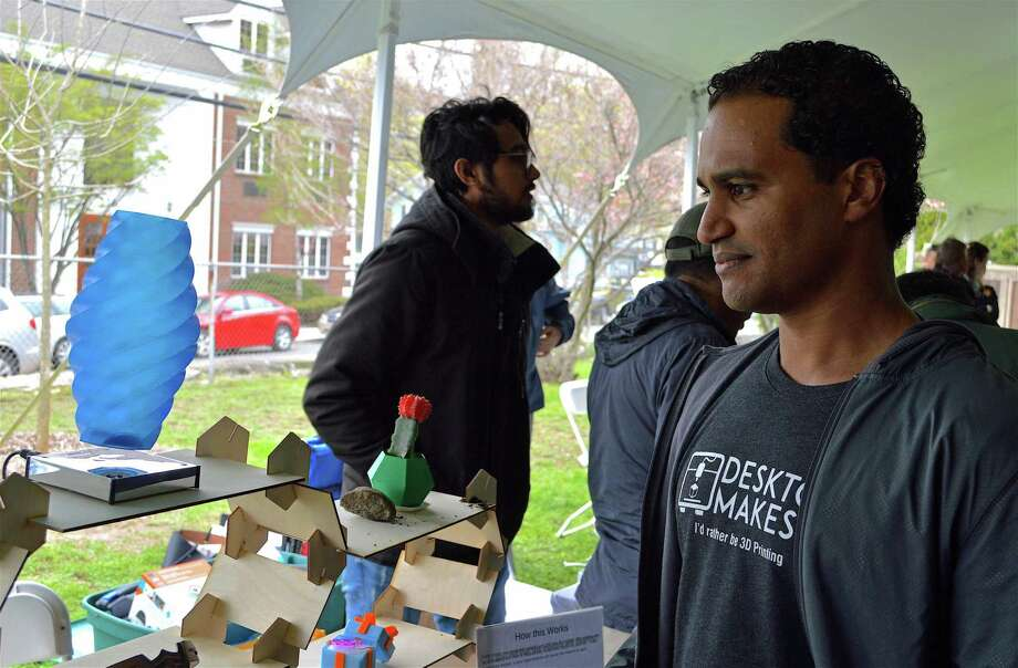 Vladimir Mariano of Norwalk, the maker space supervisor at Norwalk Community College, shares his floating sculpture at the Maker Faire Westport on Saturday, April 27, 2019, in Westport, Conn. Photo: Jarret Liotta / For Hearst Connecticut Media / Westport News Freelance