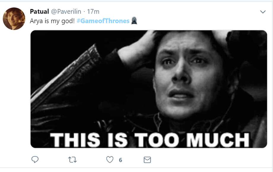 """""""Arya is my god! #GameofThrones""""  Twitter account: @Paverilin  >>>Click through to see the best social media reactions from episode 3 of """"Game of Thrones."""" Photo: Twitter Screengrab"""