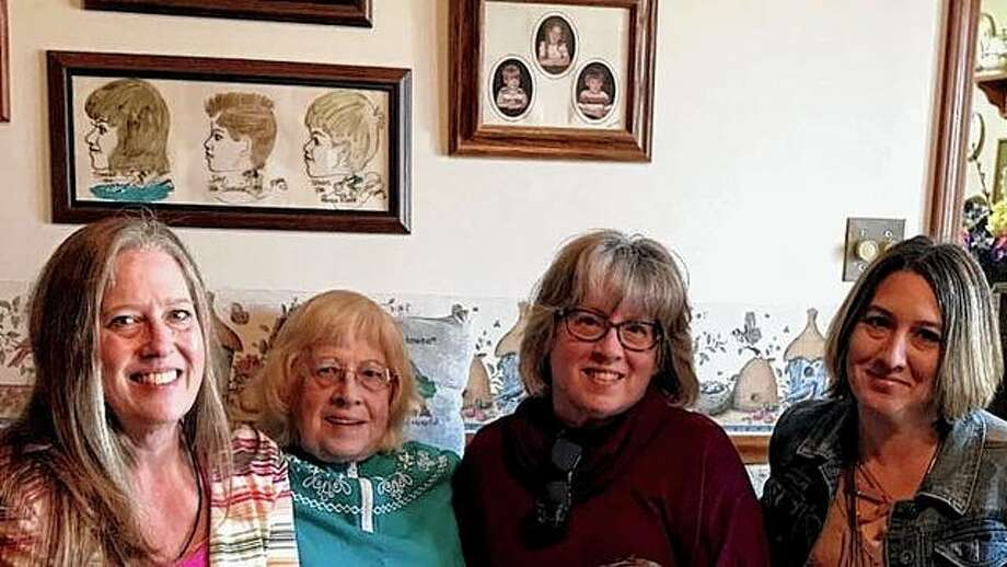Leeanne Swain (second from the right) found her birth sister, Sheryl Coxson (left), and her birth mother (middle left) after searching for about 40 years. At left is her daughter, Stacey Miller. Photo: Photo Provided