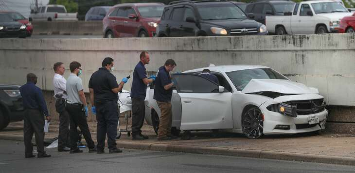 The northbound frontage road of the Southwest Freeway are shut down as HPD investigate a fatal shooting just north of Beechnut. Monday, April 29, 2019, in Houston.