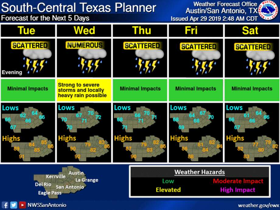 The National Weather Service is forecasting scattered showers and thunderstorms to affect Bexar County for the rest of the week. Photo: National Weather Service