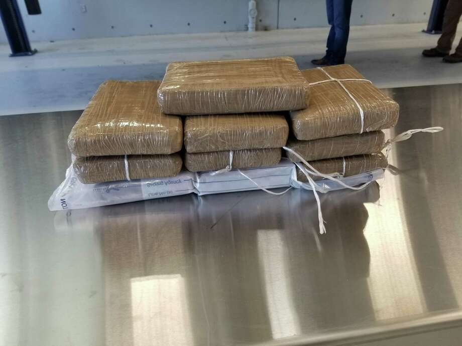 Shown are the 10 packages containing a total 26 pounds of alleged fentanyl discovered by CBP officers on April 18 at the Juarez-Lincoln Bridge. Photo: Courtesy Photo