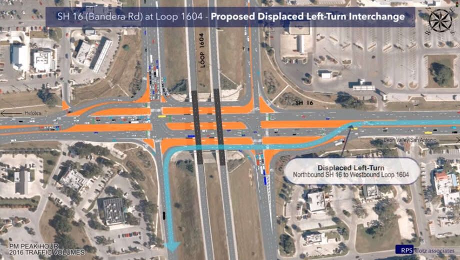 "On Sunday, April 28, 2019, the intersection at Bandera Road and Loop 1604 opened a two-lane ""displaced left turn"" connector. The unusual road configuration is the first of its kind in San Antonio, TxDOT said. Photo: TxDOT"