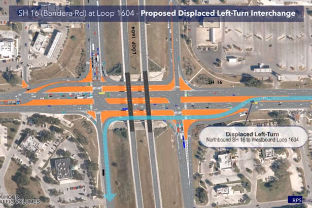 "On Sunday, April 28, 2019, the intersection at Bandera Road and Loop 1604 opened a two-lane ""displaced left turn"" connector. The unusual road configuration is the first of its kind in San Antonio, TxDOT said."