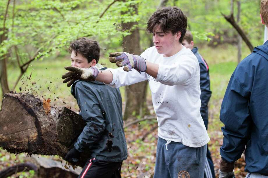 Brunswick Upper School students Charlie Garland '21 and Ryan Winston '21 cleared brush in the forest with the Audubon Greenwich as part of the annual IDEA Service Day. For years, the entire Upper School, including 400 students and their faculty advisors, have spent the day working on-site for community causes in Greenwich or in Fairfield or Westchester counties. Photo: Contributed / (c) 2019 Brunswick School