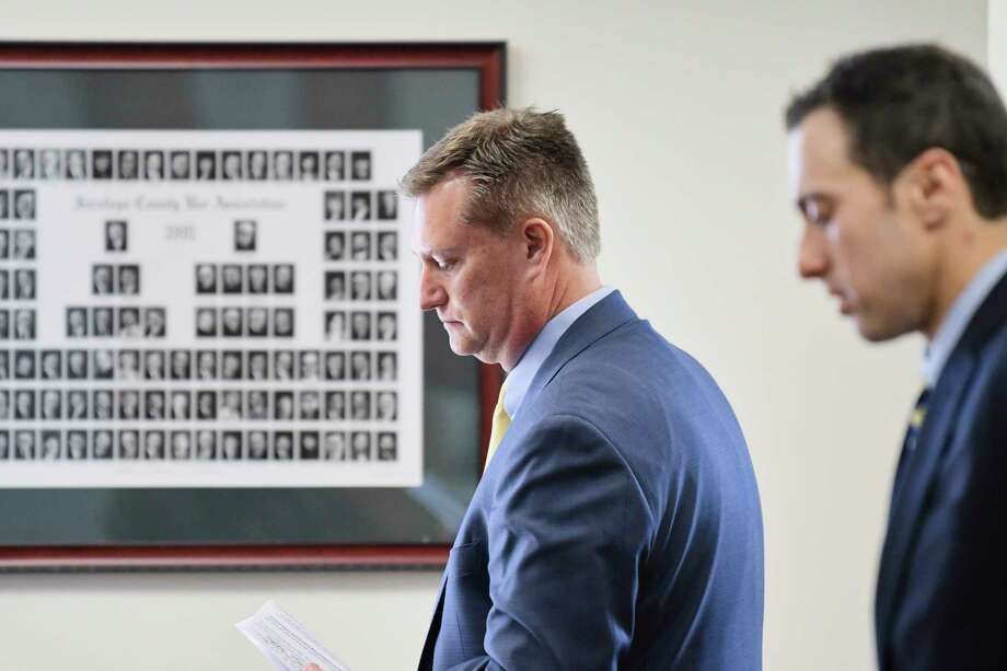 Ichabod Crane superintendent, Michael Vanyo, left, and his attorney Jonathan Cohn, in Wilton Town Court for a hearing with Judge David Towne, on Monday, April 29, 2019, in Wilton, N.Y.  (Paul Buckowski/Times Union) Photo: Paul Buckowski, Albany Times Union / (Paul Buckowski/Times Union)