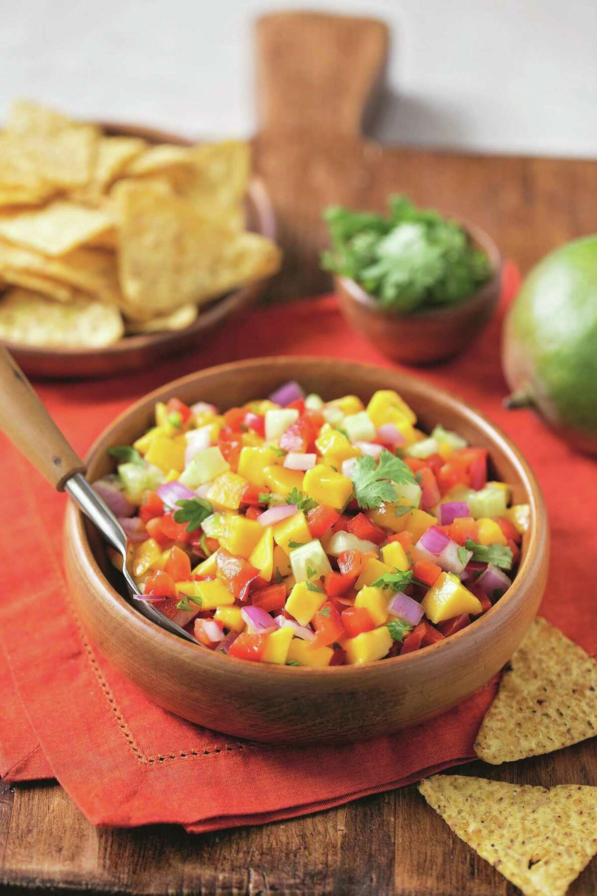 Mango Salsa is bursting with color and flavor.