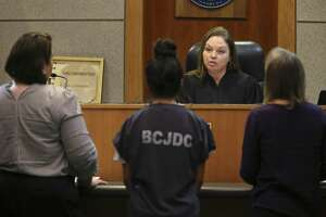 A 16-year-old Madison High School girl stands before Bexar County 436th Juvenile District Court Judge Lisa K. Jarrett during a hearing April 29, 2019. Her name is not being released because she is in juvenile court. The girl is accused of stabbing Kaitlin Castilleja, 18, and another woman. Castilleja died March 1.