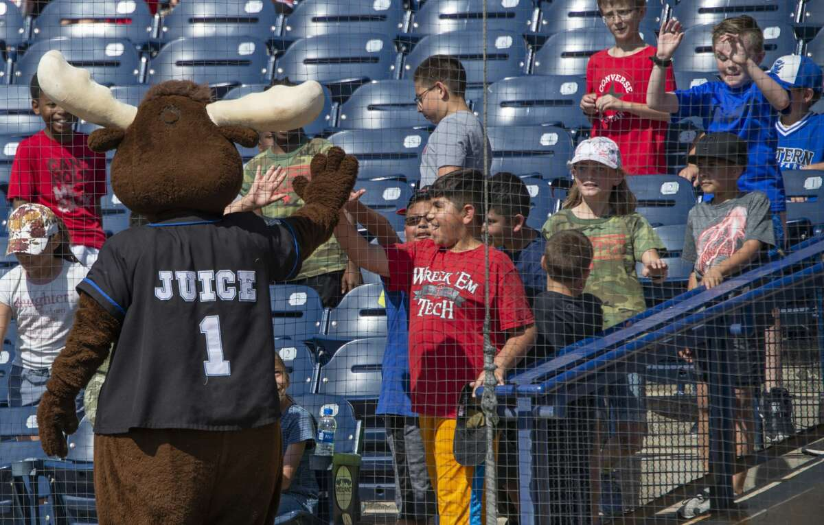 Juice the Moose greets fans 04/29/19 during a day game with the Midland RockHounds taking on the NW Arkansas Naturals at Security Bank Ballpark. Tim Fischer/Reporter-Telegram