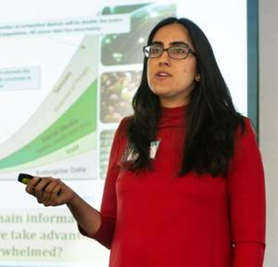 Nina Kshetry, founder and president of Ensaras Inc., gave a presentation that included talking about some of her agricultural wastewater treatment projects. Photo: For The Telegraph
