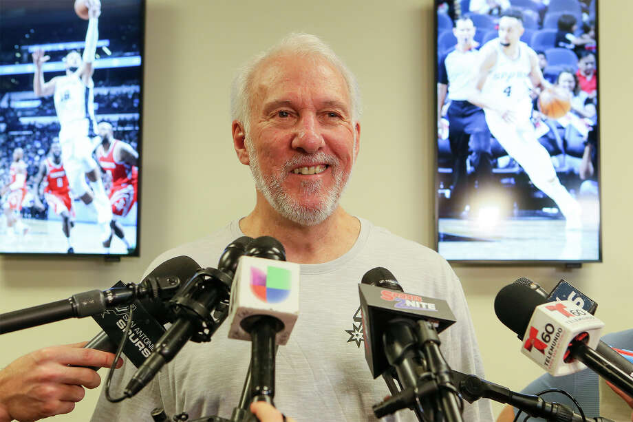 Spurs coach Gregg Popovich talks about the Spurs' season at the Spurs Practice Facility on Monday, April 29, 2019. As he concluded his end-of-season press conference Monday, April 29, 2019, Popovich told reporters he would see them next fall and wished them a safe summer. Popovich will have a healthy Dejounte Murray back to join Derrick White, who had a break-out year, and rising young guard Lonnie Walker, who spent much of the 2018-19 season in the NBA's G League. Photo: Marvin Pfeiffer / Express-News 2019