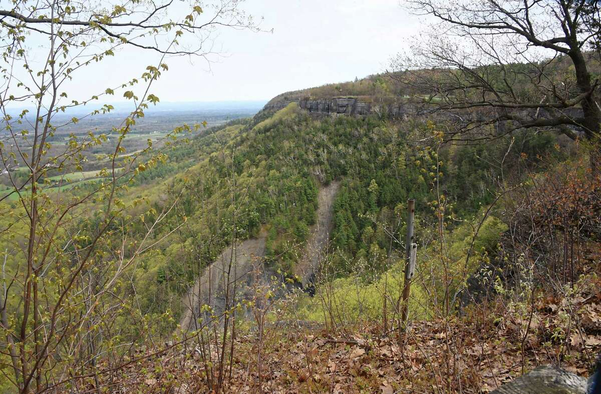 View from a trail at John Boyd Thacher State Park on Monday, April 29, 2019 in New Scotland, N.Y. The trailhead to the Indian Ladder Trail is still closed for the season. (Lori Van Buren/Times Union)