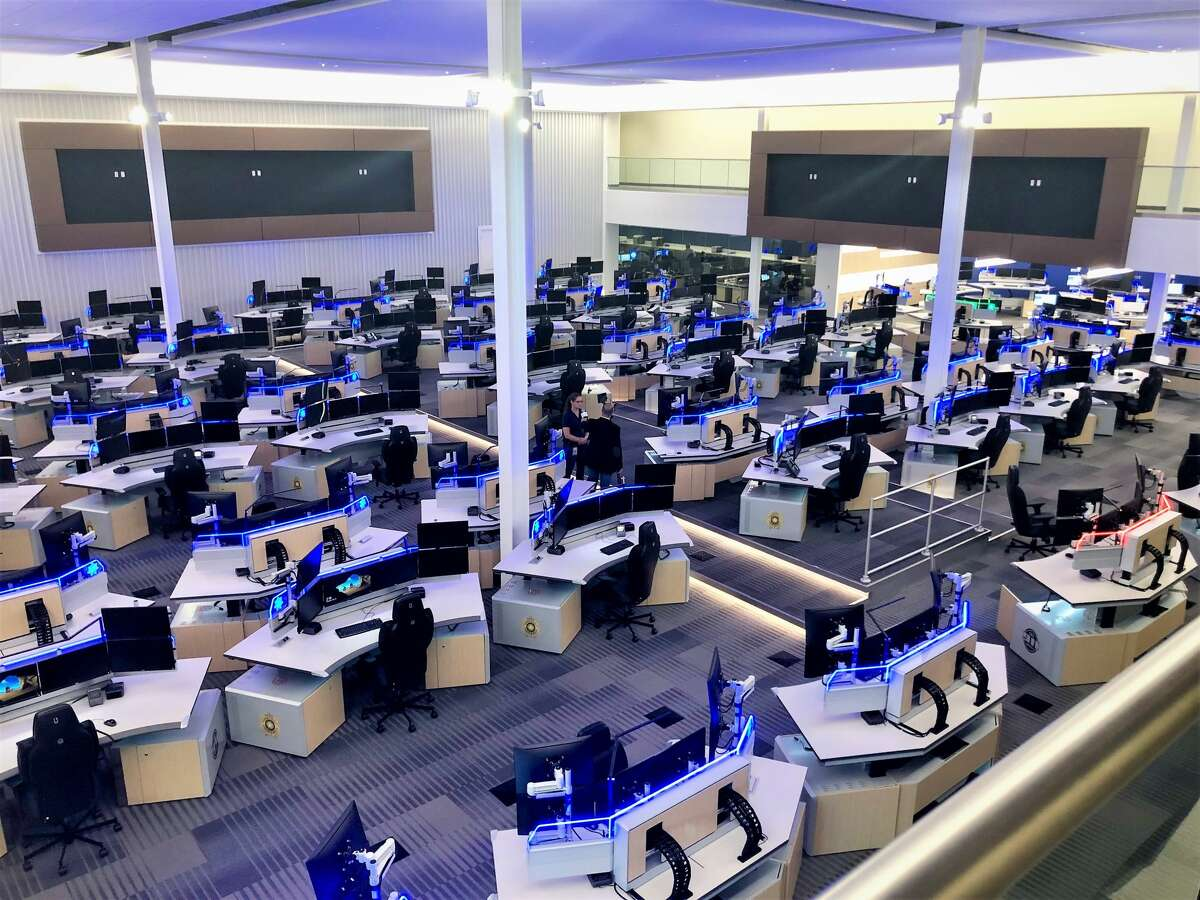 Situated on the main floor are 56 call-taker and 16 dispatcher consoles, all equipped with technology by Next Generation 911 and six screens.