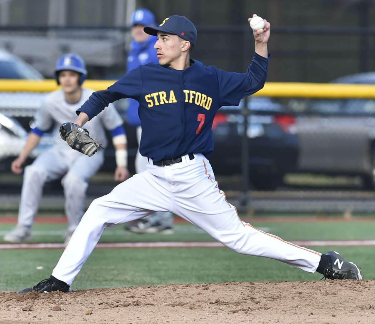 Stratford, Connecticut - Monday, April 15, 2019: Stratford H.S. vs. Bunnell H.S. baseball Monday afternoon at Penders Field in Stratford.