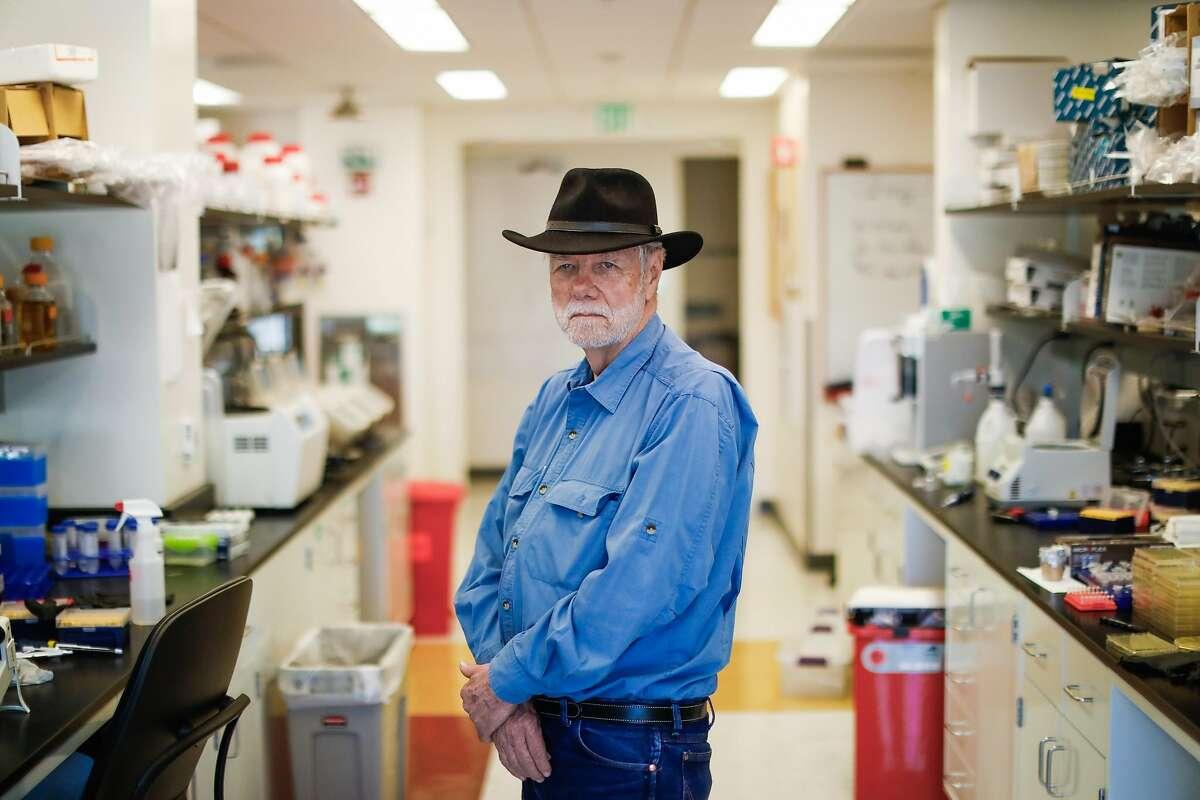 Stanford scientist Ron Davis poses for a portrait in his lab in Palo Alto, California, on Monday, April 29, 2019.