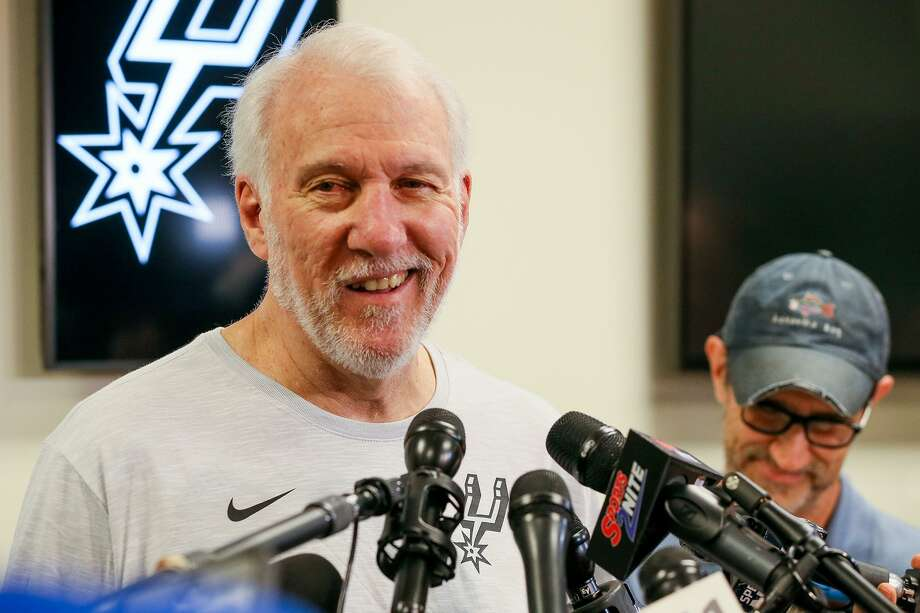 Spurs coach Gregg Popovich talks about the Spurs' season at the Spurs Practice Facility on Monday, April 29, 2019. Photo: Marvin Pfeiffer, Staff Photographer / Express-News 2019