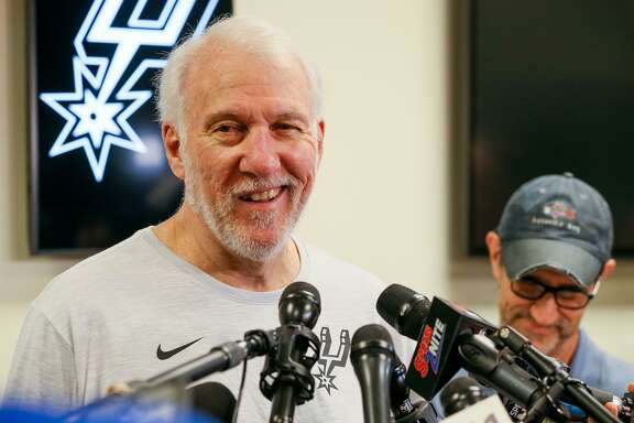 Spurs coach Gregg Popovich talks about the Spurs' season at the Spurs Practice Facility on Monday, April 29, 2019.