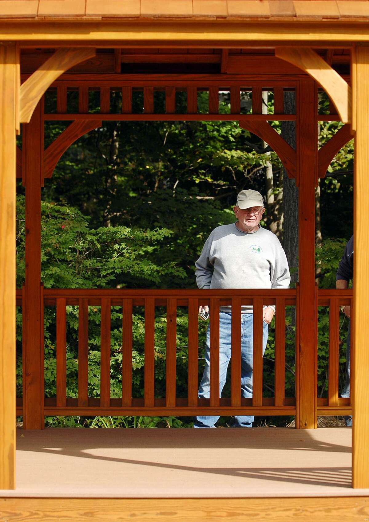 Seymour Land Trust President Frank Conroy looks over a gazebo purchased by the trust for the VFW Memorial Park site in 2006.