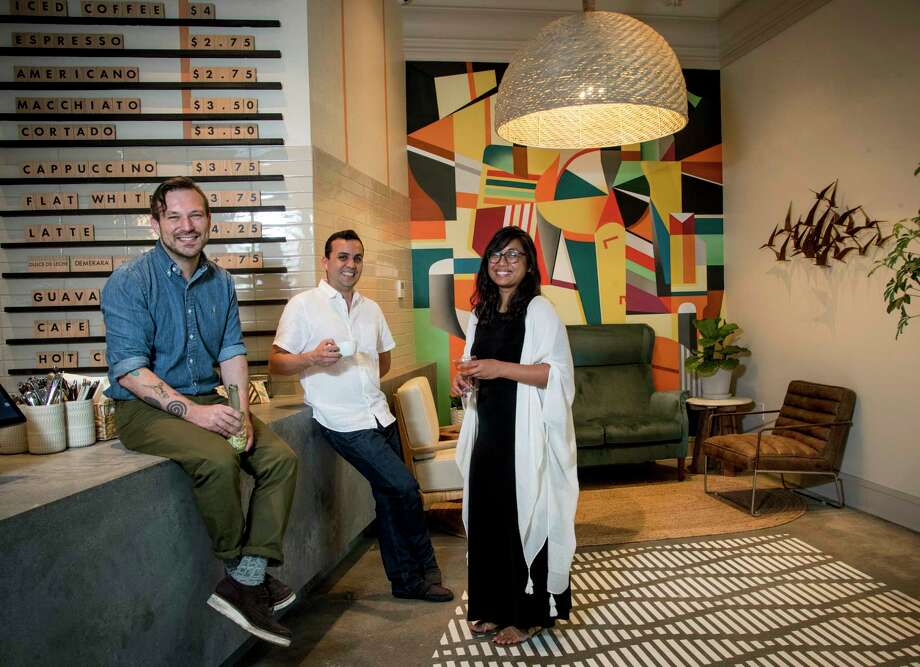 David Buehrer, left, Carlos Ballon and Jill Bartolome are the principals in the new Tropicales cafe, 2132 Bissonnet, opening May 5. Photo: Brett Coomer, Staff Photographer / © 2019 Houston Chronicle